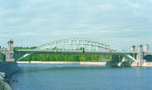 The Luzhnetsky railway bridge across the Moscow River in Moscow City
