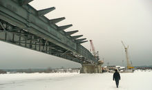 The bridge across the Sozh River near Krichev City, Belorussia