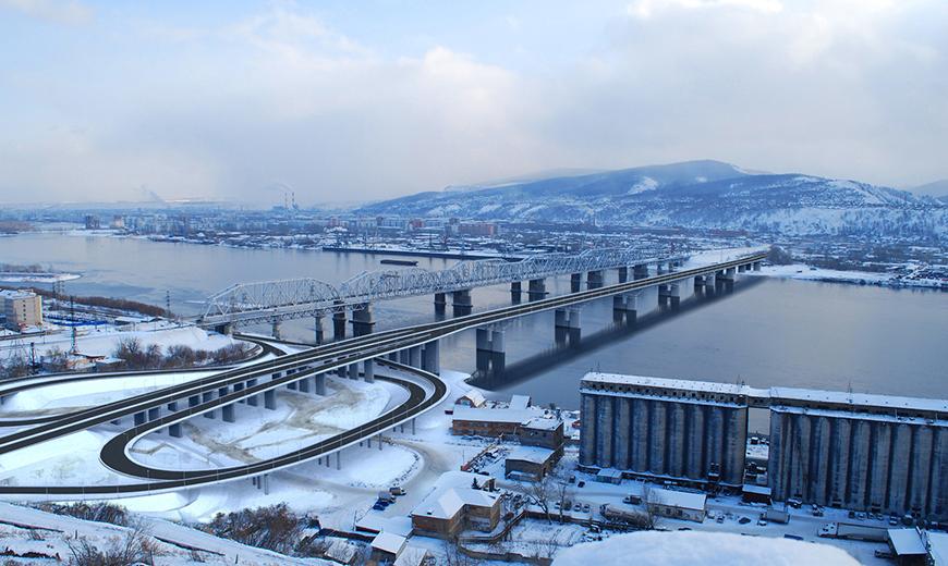 Красноярске через реку Енисей