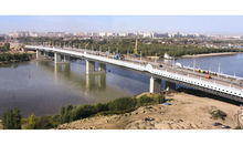 The combined bridge across the Irtysh River in Omsk City