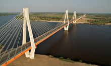 The bridge across the Oka River on the bypass of Murom City